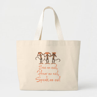 See no evil - hear no evil - speak no evil - large tote bag