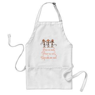 See no evil - hear no evil - speak no evil - standard apron