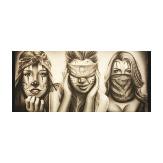 See no evil, Speak no evil, Hear no evil, gangster Canvas Print