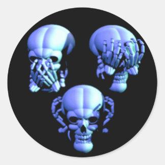 See No, Hear No, Speak No Evil Skulls Stickers