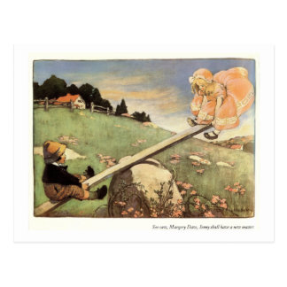 See Saw, Margery Daw Nursery Rhyme Postcard