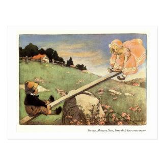 See Saw, Margery Daw Nursery Rhyme - Postcard