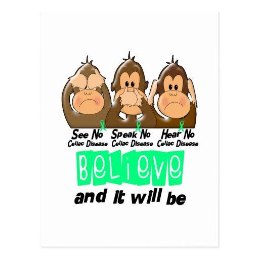 See Speak Hear No Celiac Disease 3 Post Card