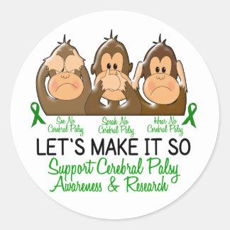 See Speak Hear No Cerebral Palsy 2 Classic Round Sticker