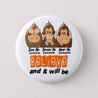 See Speak Hear No Leukemia 3 6 Cm Round Badge
