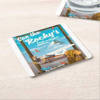 "See The Rocky's ""Book a flight!"" Square Paper Coaster"