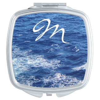 See the Sea Monogrammed with Single Initial Travel Mirror