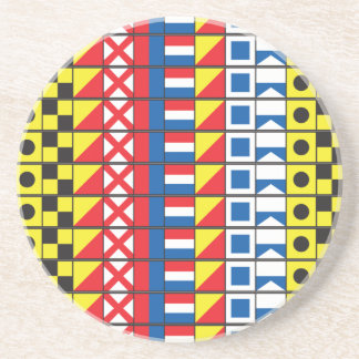 See Worthy_Signal Flags pattern_I Love to sail Beverage Coasters