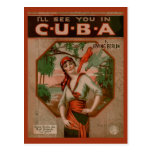 See you in Cuba, retro sheet music cover Postcard