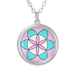 Seed of Life Pink Silver Plated Necklace