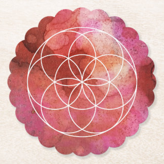 Seed of Life Symbol on Alcohol Ink Background Paper Coaster