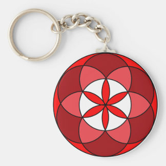 Seed of LifeRed3 Basic Round Button Key Ring