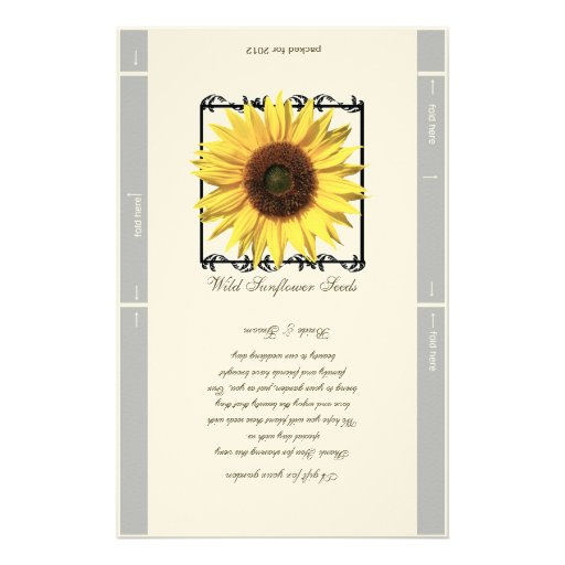 Seed Packet Template Wedding Favor Personalized Stationery