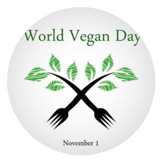 Seedling from a fork- World vegan day November 1 13 Cm X 13 Cm Square Invitation Card