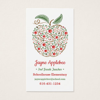 Seeds of Knowledge Teacher's Apple Business Card