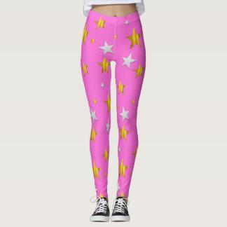 Seeing Stars on Pink Background Leggings