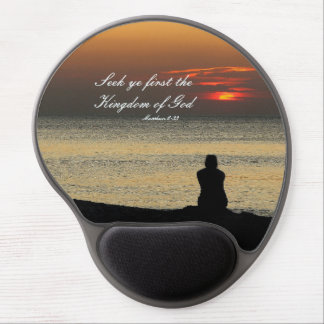 Seek First Kingdom of God, Matthew 6, Ocean Sunset Gel Mouse Pad