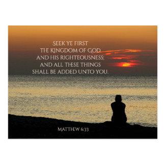 Seek First Kingdom of God, Matthew 6, Ocean Sunset Postcard