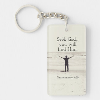 Seek God Bible Verse Deuteronomy, Custom Beach Double-Sided Rectangular Acrylic Key Ring