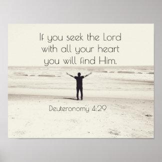 Seek the Lord, Bible Verse Deuteronomy, Beach Poster