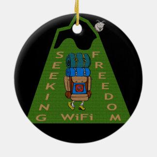 Seeking WiFi Freedom Hiker Design Ceramic Ornament