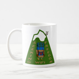 Seeking WiFi Freedom Hiker Design Coffee Mug