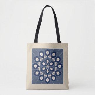 Seemless flower blue pattern tote bag