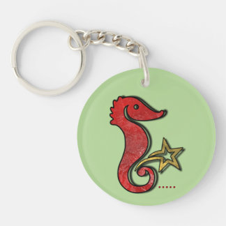 Seepferdchen water dragon acrylic key supporter Double-Sided round acrylic key ring