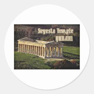 Segesta Temple Round Sticker