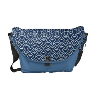 Seigaha Japanese Pattern Messenger Bag Blue