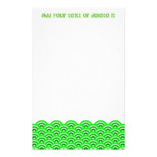 seigaiha (green) personalized stationery
