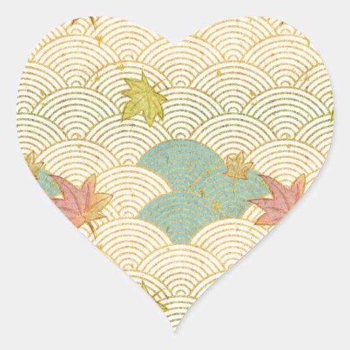Seikaiha and Momiji Heart Sticker