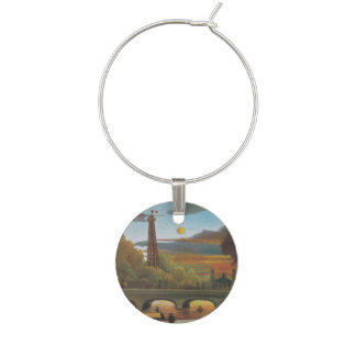 Seine and Eiffel Tower at Sunset by Henri Rousseau Wine Charms