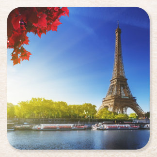 Seine In Paris With Eiffel Tower In Autumn Time Square Paper Coaster