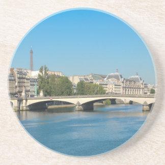 Seine river in Paris, France Beverage Coaster