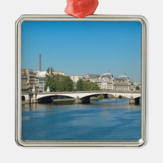 Seine river in Paris, France Silver-Colored Square Decoration