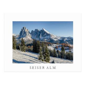 Seiser Alm winter landscape white postcard