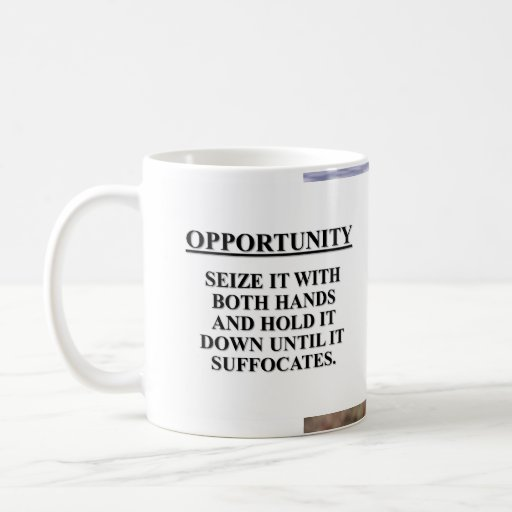 Seize opportunity with both hands & kill it mug