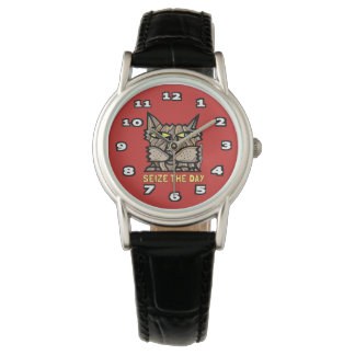 """Seize the Day"" Classic Womens Black Leather Wristwatches"