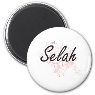 Selah Artistic Name Design with Butterflies Magnet