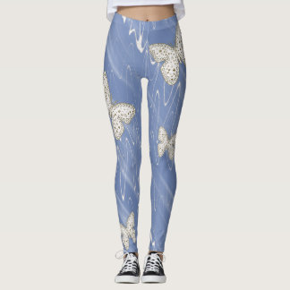 Select BG Color - Gold, White Doodle Art Butterfly Leggings