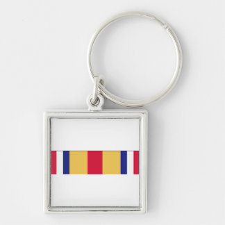 Selected Marine Corps Reserve Ribbon Silver-Colored Square Key Ring