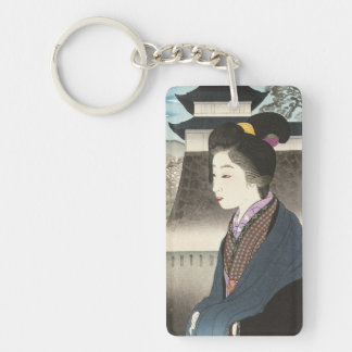 Selected Views of Kyoto, Moon at Nijo Castle Double-Sided Rectangular Acrylic Key Ring