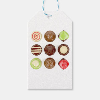 Selection of chocolate candies gift tags