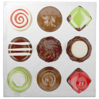 Selection of chocolate candies napkin
