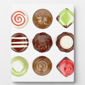 Selection of chocolate candies plaque