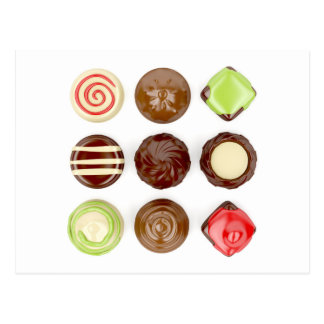 Selection of chocolate candies postcard