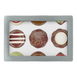 Selection of chocolate candies rectangular belt buckle