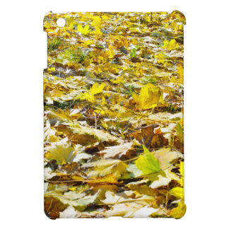 Selective focus on the yellow maple leaves on the case for the iPad mini