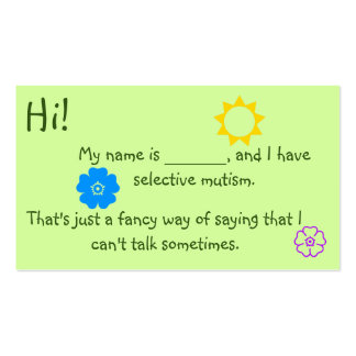 Selective Mutism for Kids flower theme Pack Of Standard Business Cards